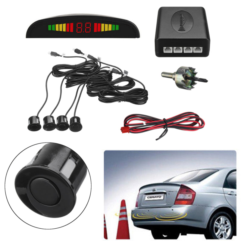 Car Reverse System 4 Parking Sensor Radar Kit LCD Displayer Buzzer Alarm Rear