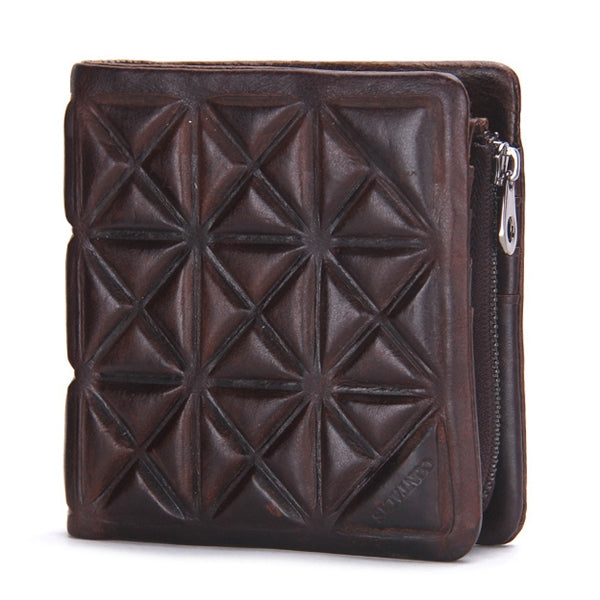 Genuine Leather Vintage Zipper Short Trifold Wallet For Men