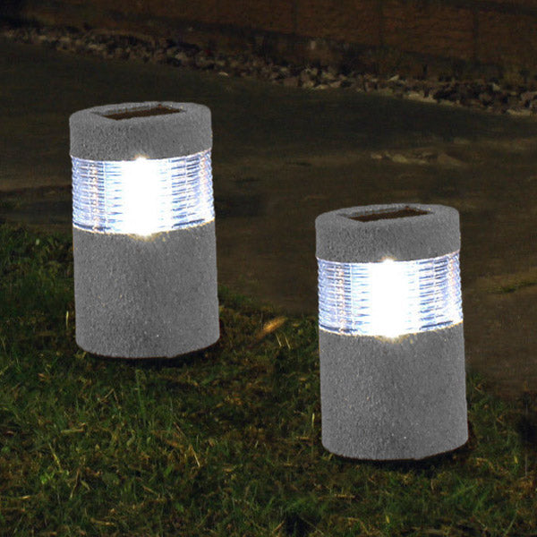 Garden Solar Stone Post White Warm White LED Light Outdoor Waterproof Decoration Lamp