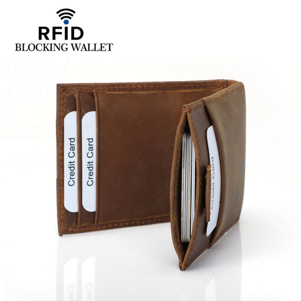 Genuine Leather RFID Antimagnetic Card Holder Cash Slip Wallet