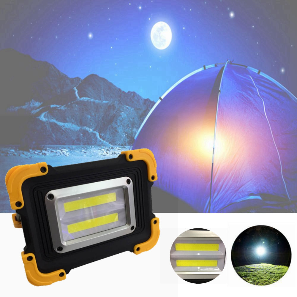 20W Double Square USB Portable Waterproof COB LED Camping Light Rechargeable 3Modes Work Spotlight