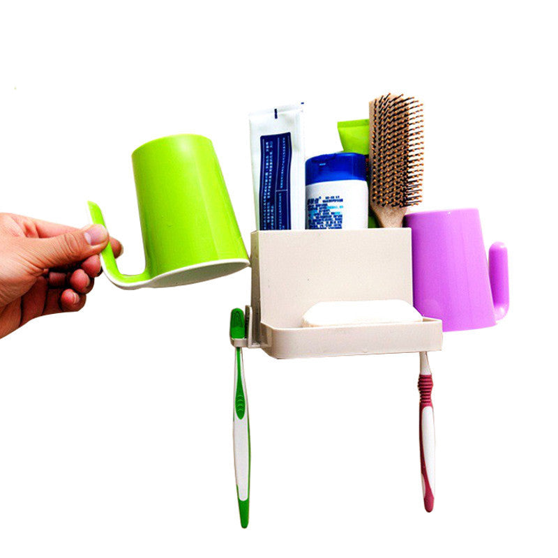 Multi-function Toothbrush Toothpaste Soap Box Combination Rack Bathroom Shelves Sucker