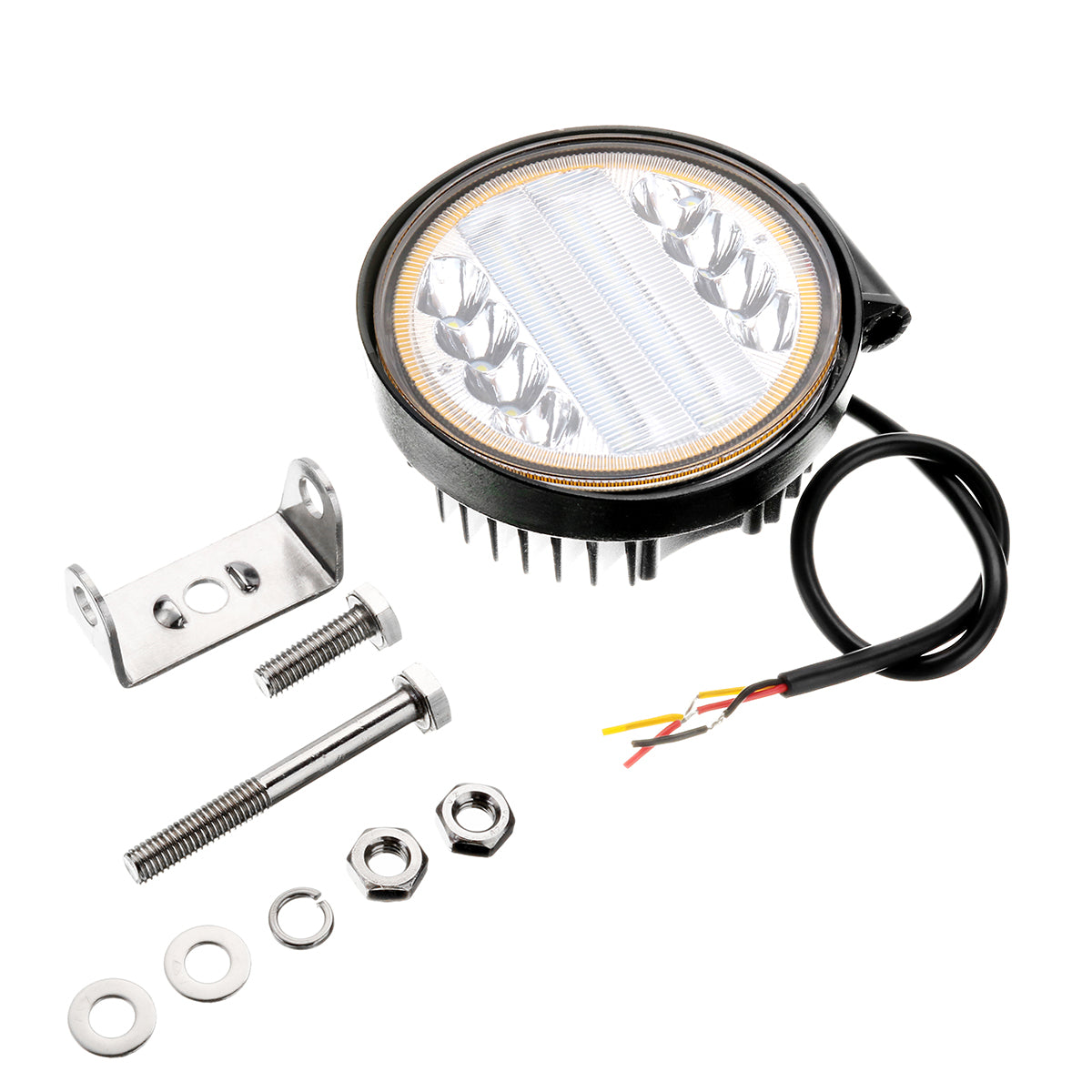 1pcs 30W White 6000K 2100LM 20 LED Car Work Light with Yellow Halo Ring for Off-road SUV Trucks