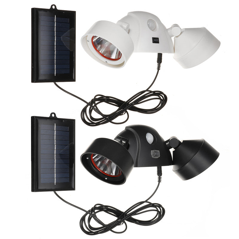 5W Solar Power Dual Head LED Home Security Light PIR Motion Sensor Outdoor Wall Lamp