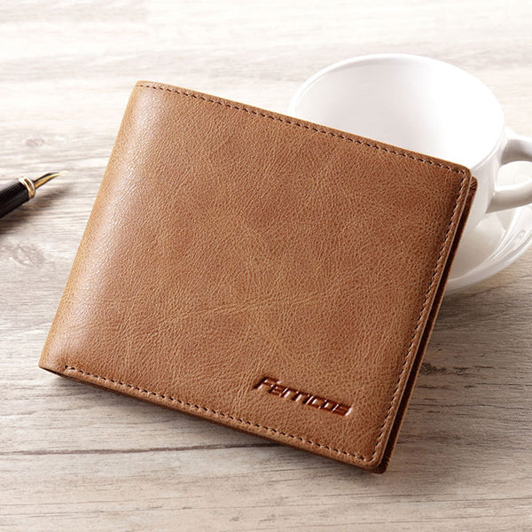Men Vintage Leather Thin Wallet Card Holder with ID Window