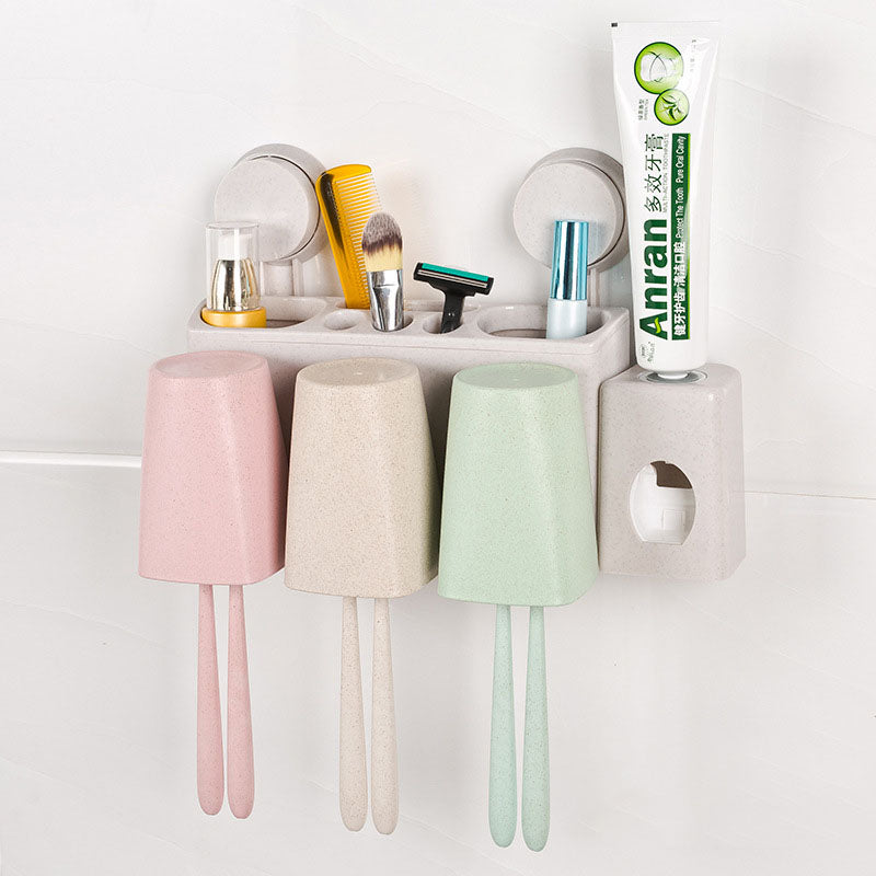 Bathroom Supplies Wheat Straw Wash Multi-functional Wash Set Toothpaste Tumbler Toothbrush Holder