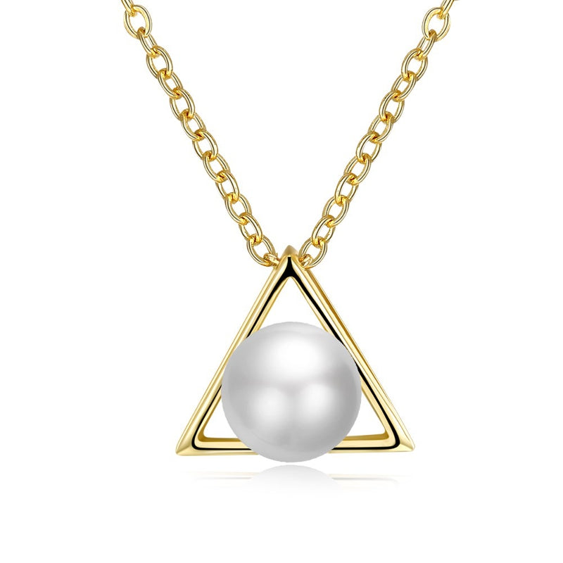 INALIS Trendy Pearl Pendant Triangle Gold Plated Necklace for Women