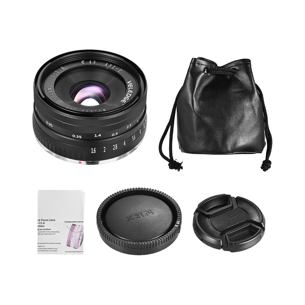 VELEDGE 32mm F1.6 Large Aperture Manual Prime Fixed Lens APS-C for Sony E-Mount Digital Mirrorless Cameras NEX 3 NEX 3N NEX 5 NEX 5T NEX 5R NEX 6 7 A5000 A5100 A6000 A6100 A6300 A6500