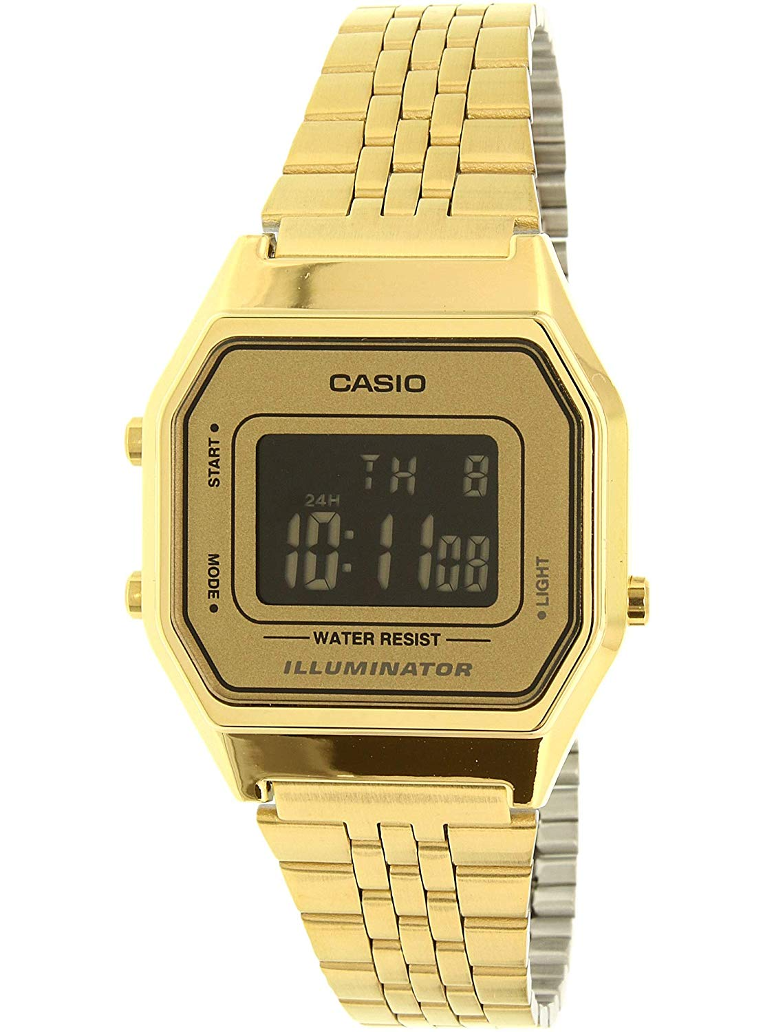 Casio Ladies Mid-Size Gold Tone Digital Retro Watch LA-680WGA-9BDF