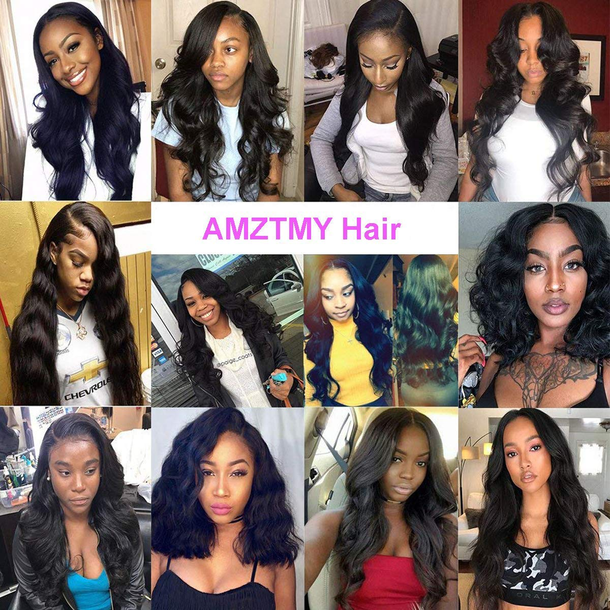 AMZTMY Brazilian Virgin Body Wave Hair 3 Bundles with Closure 8A 100% Unprocessed Human Hair Weave Bundles with 4x4 Swiss Lace Closure Hair Extensions Natural Color (10,12,14+10 Three Part)
