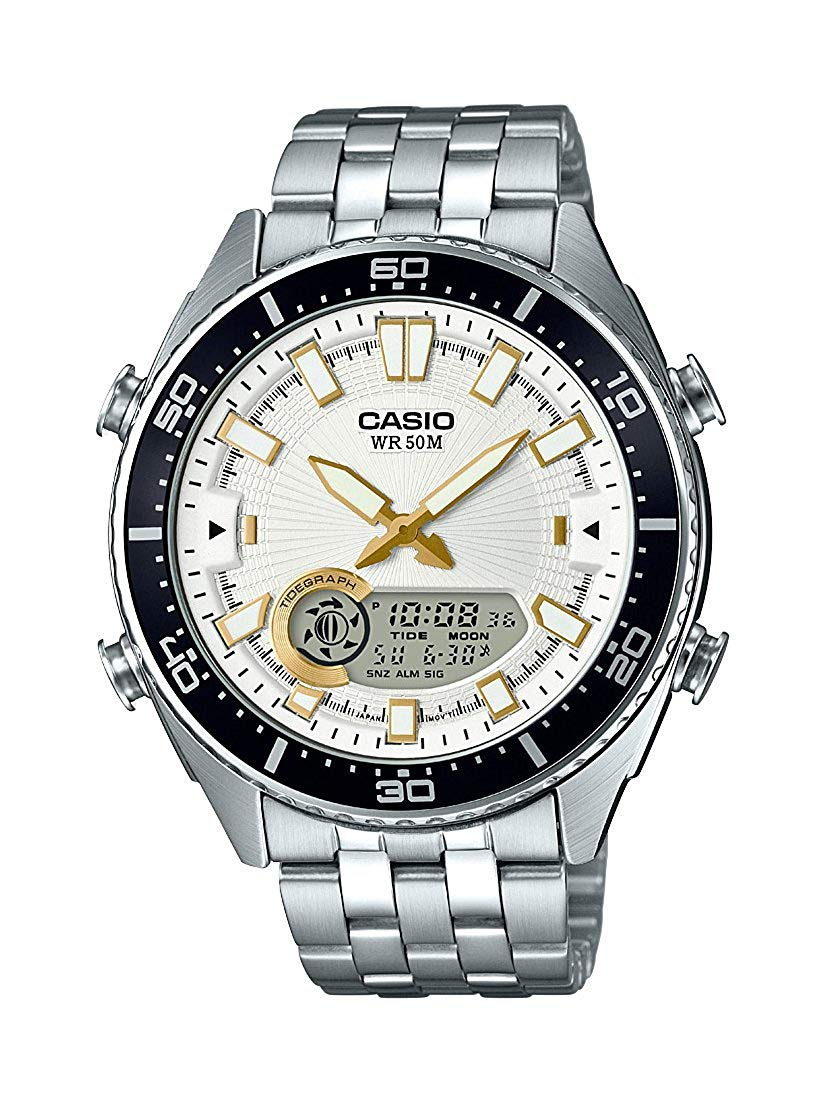 Casio Men's 'Ana-Digi' Quartz Metal and Stainless Steel Casual Watch, Color:Silver-Toned (Model: AMW-720D-7AVCF)