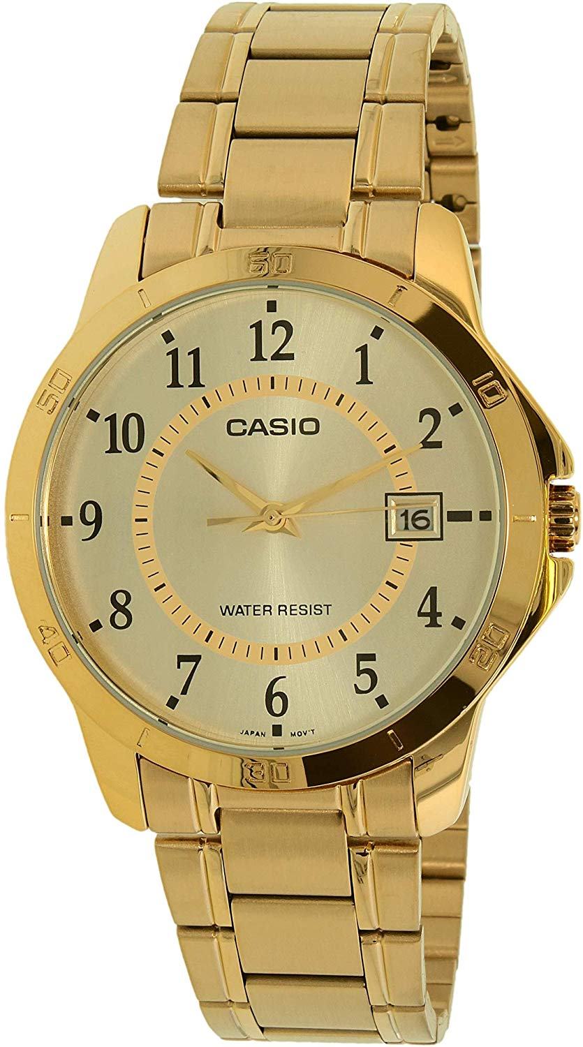 Casio #MTP-V004G-9B Men's Standard Gold Tone Stainless Steel Gold Dial Date Watch