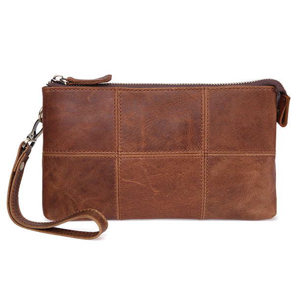 Men Genuine Leather Vintage Plaid Wallet Phone Bag Clutch Bag