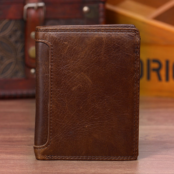Vintage Genuine Leather 13 Card Slots Driver License Tri-fold Wallet For Men