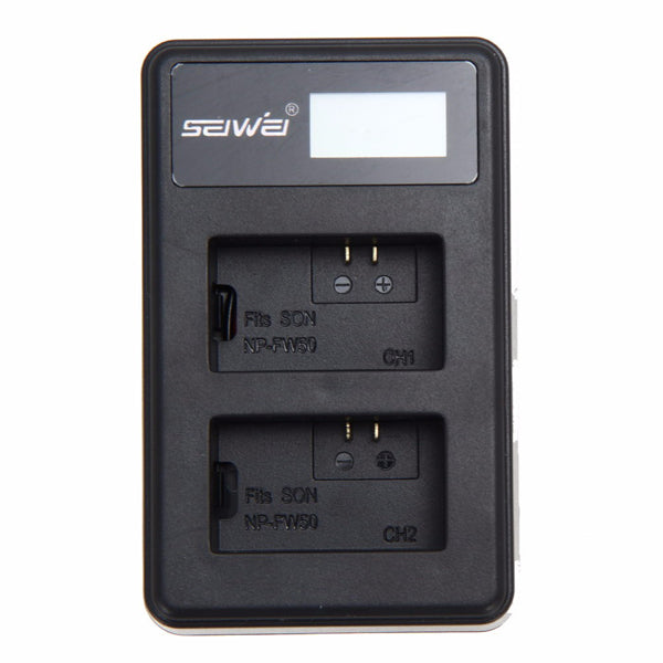 SEIWEI LP-E6 USB Dual Channel Rapid Battery Charger with LED Screen for Canon EOS 5D2,EOS 5D3