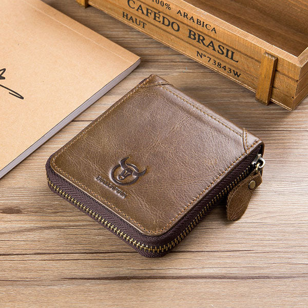 Bullcaptain Men Retro Minimalist Fashion Cowhide 12 Card Slots Short Zipper Wallet
