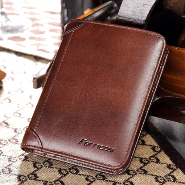 Men RFID Blocking Secure Wallet Fashion Vintage Purses Genuine Leather Tri-fold Wallet Short Wallet