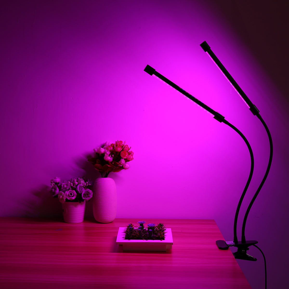 Gardening Plant 18W Dual-lamp LED Grow Light Dimmablec Adjustable