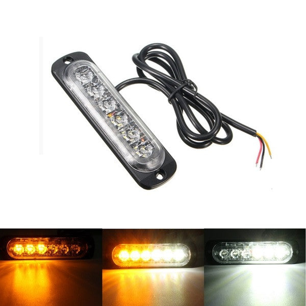 18W LED Car Strobe Light Emergency Lamp Warning Flashing Lighting Amber/White