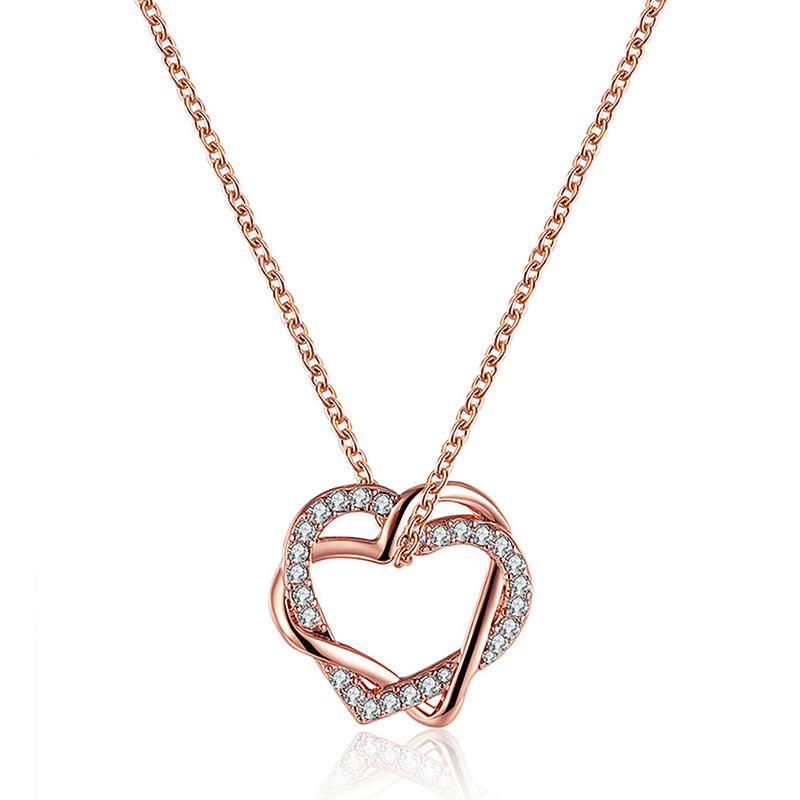 JASSY Elegant Double Heart Crystal Rhinestone Pendant Necklace Anallergic Women Accessories