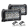 2Pcs 72W 6000LM 5Inch LED Work Light Bar Combo Beam Driving Fog Lamp for Jeep Offroad ATV Truck