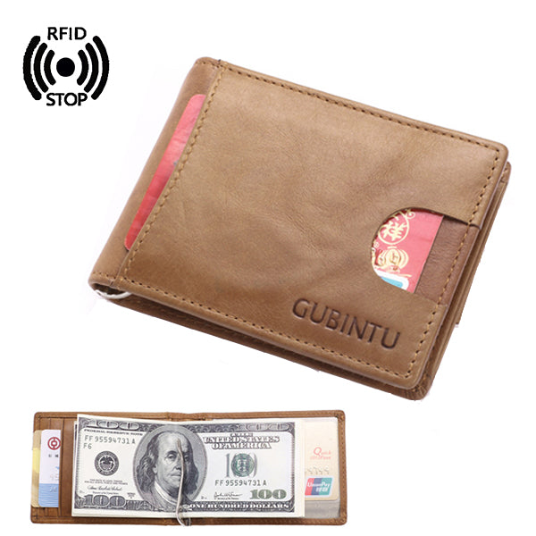 Men RFID Antimagnetic Genuine Leather Card Holder Money Clip Fashion Wallet