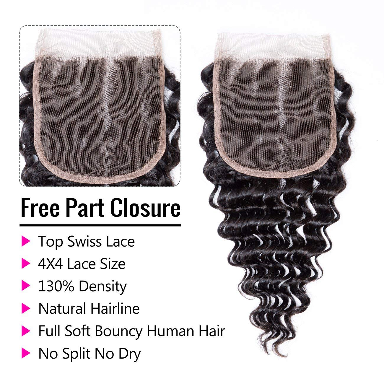 Brazilian Hair 4 Bundles With Closure Short Human Hair Weave Bundles With Free Part Lace Closure 8A Brazilian Straight Hair 8 inch Natural Color (8 8 8 8+8 closure)