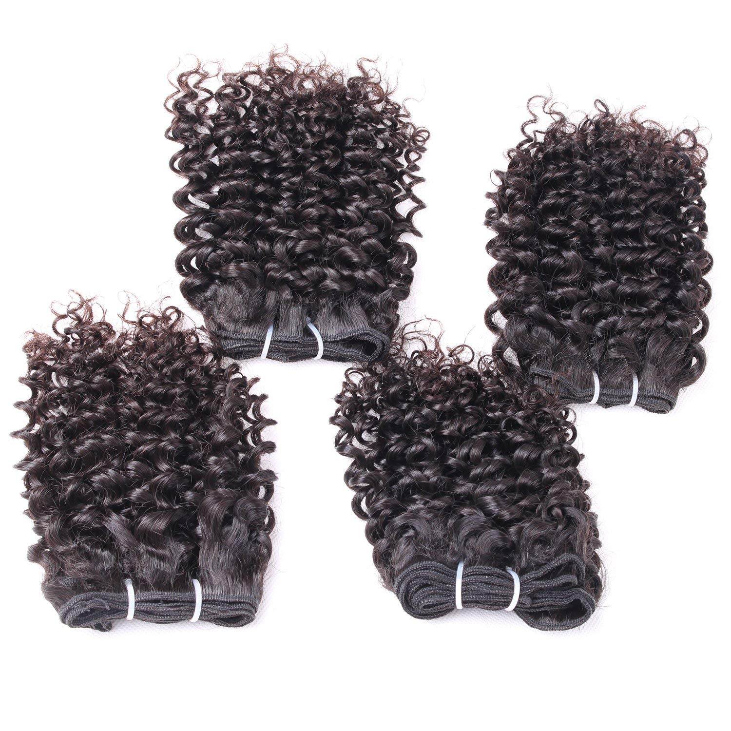 "Calavaca Brazilian Curly Human Hair 4 Bundles With 4x4 Closure Unprocessed Human Remy Hair Short Spiral Bouncy Curls Weave Funmi Virgin Hair Weft Natural Black 240Gram/lot(10"", Funmi with Closure)"