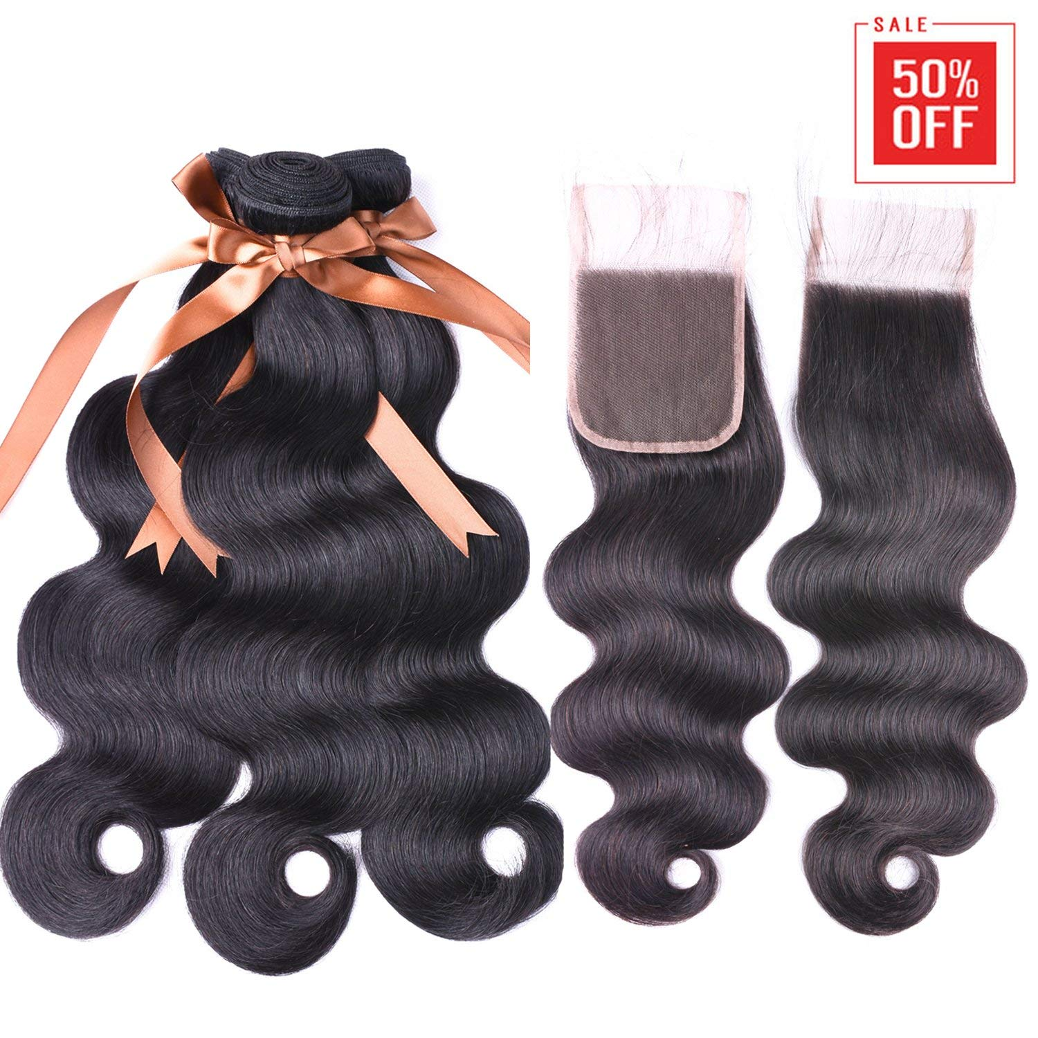 "Allrun Hair 7A Brazilian Body Wave 3 Bundles with Free Part Lace Closure 100% Unprocessed Human Hair Weave Extensions Bundles with 4×4 Closures (16 18 20+16"" Closure)"