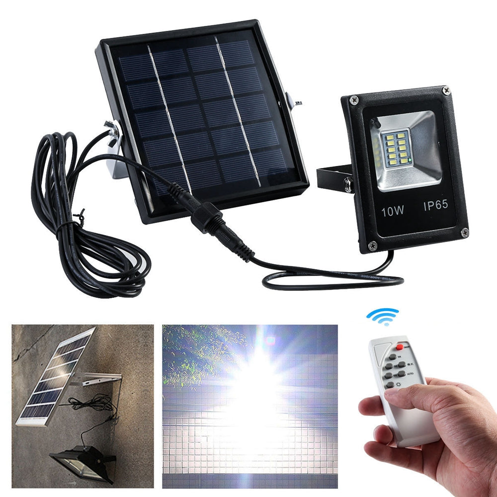 Solar Powered 10W 10LED SMD5730 Waterproof IP65 Remote+Timer+Light Control Flood Light