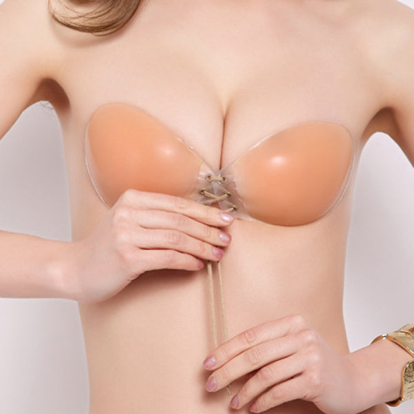 Sexy Front Closure Push Up Self-adhesive Latex Silicone Invisible Strapless Dress Nu Bra