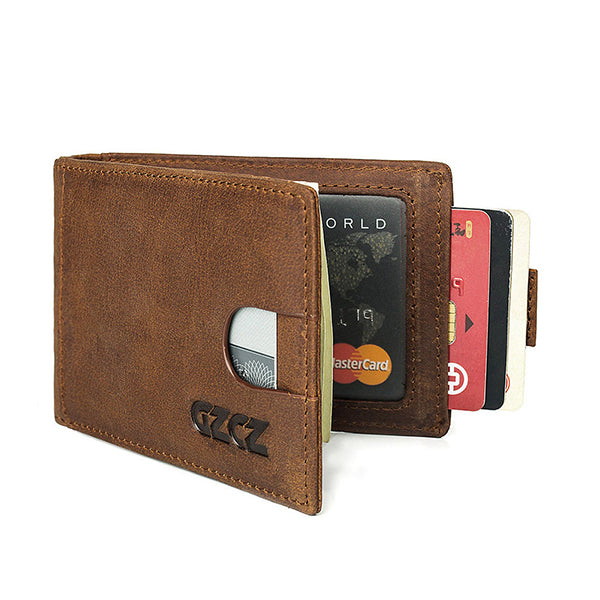 RFID Blocking Secure Men's Genuine Leather Wallet Money Clip
