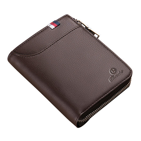 Men Black Coffee Zipper Leather Wallet Card Holder Coin Bag with External Card Slot