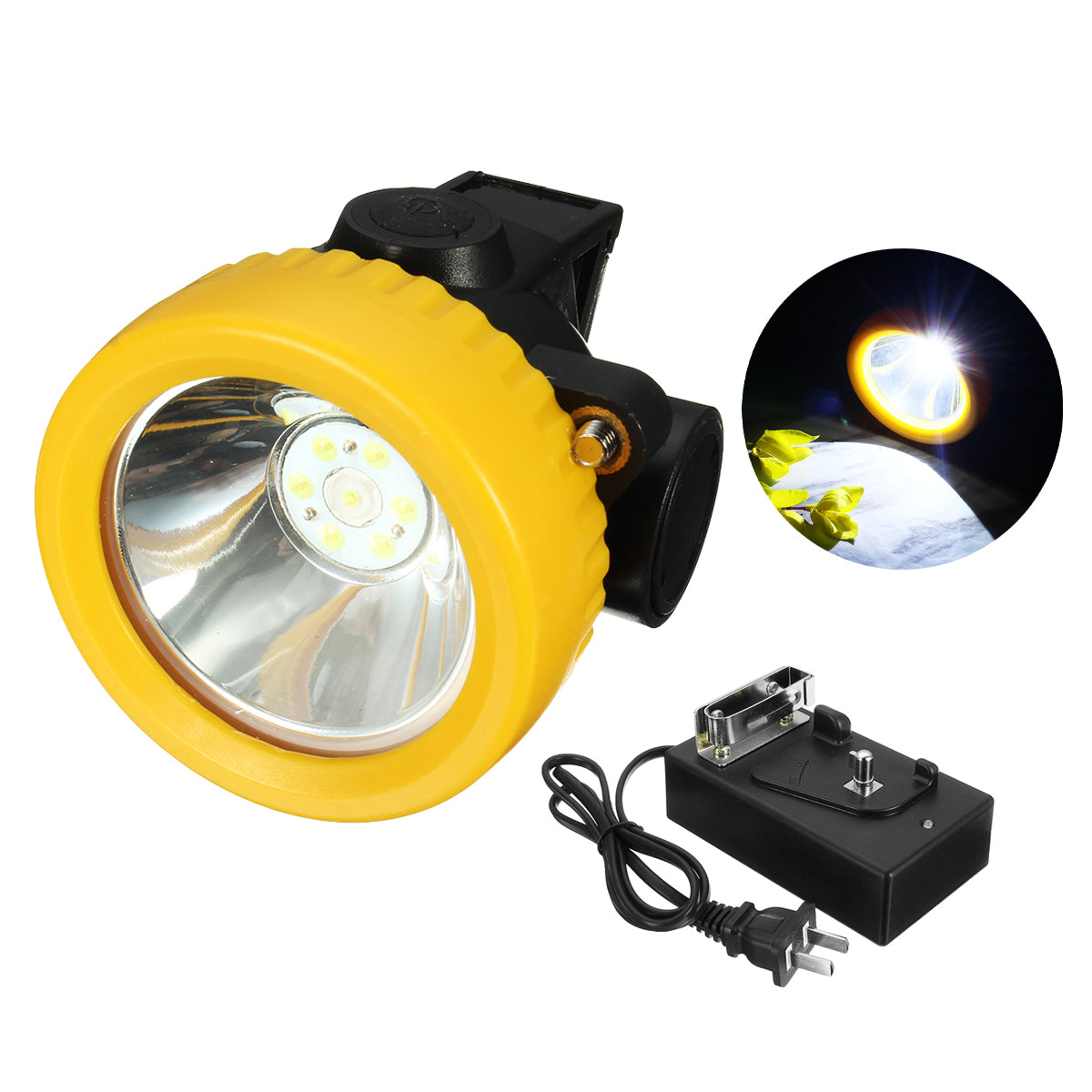 Miners Cordless Power LED Helmet Light Safety Head Cap Lamp Torch