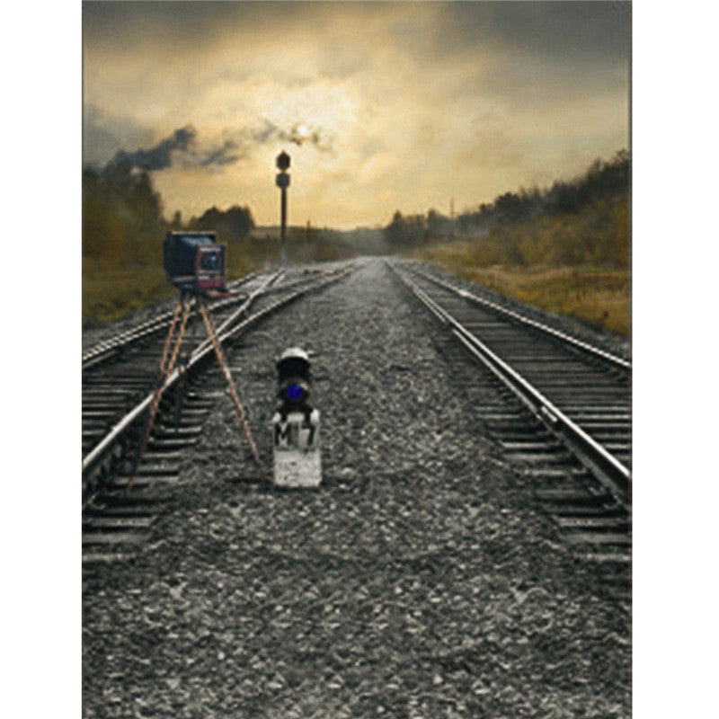 Backdrop Train Road Railway Track Camera Theme Photography Background Cloth Backdrop