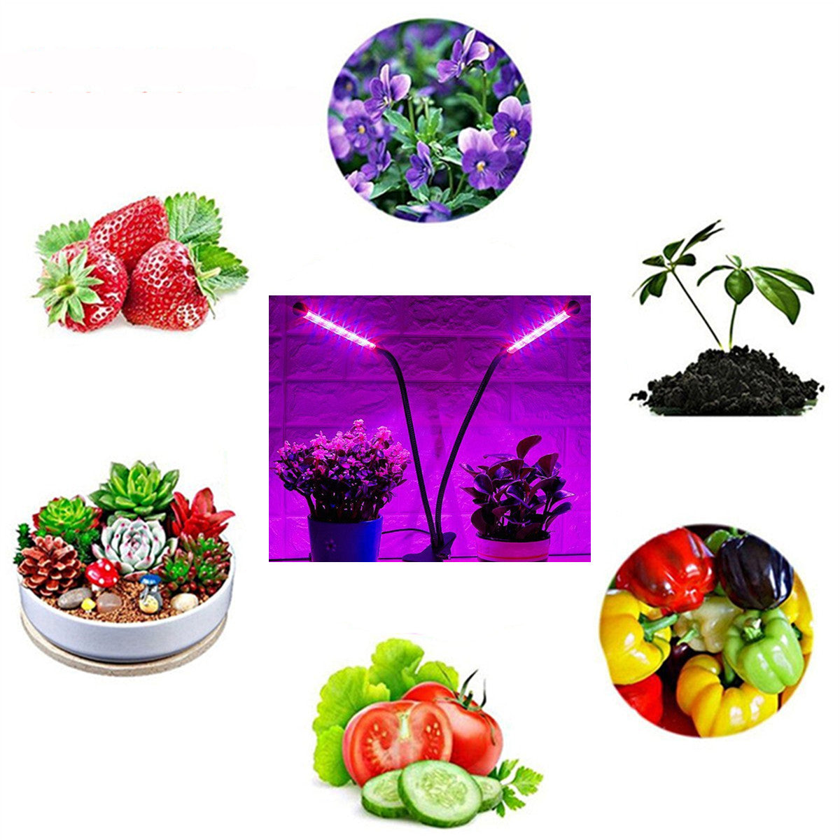 Gardening Plant 18W Dual-lamp LED Grow Light Dimmablec Adjustable Flexible 360 Degree Gooseneck Growing Lamp