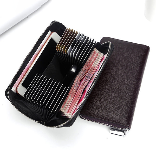 Men 24 Card Slots Genuine Leather 6 Inch Phone Car Key Bag Card Holder Long Wallet
