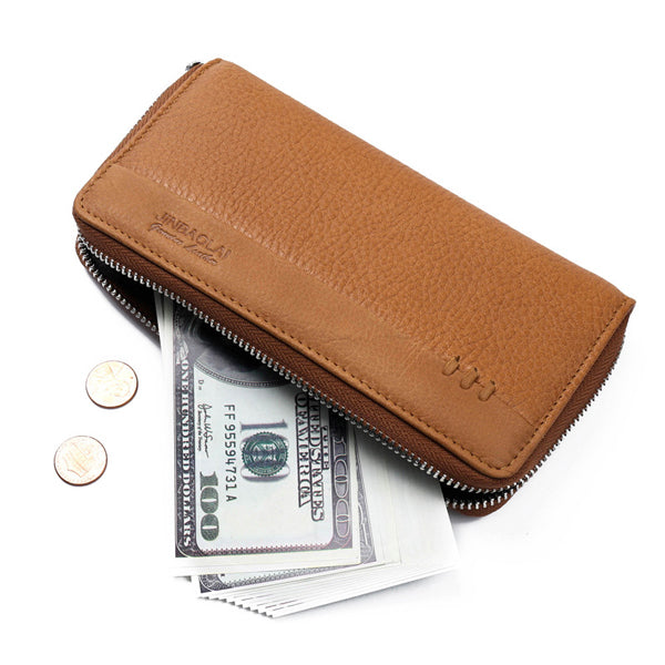 5.5 Inches Cellphone Men Genuine Leather Long Business Wallet