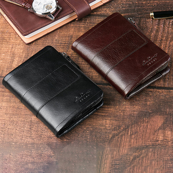 Ekphero Men Retro Wallet Genuine Leather Zipper Card Holder Coin Bag