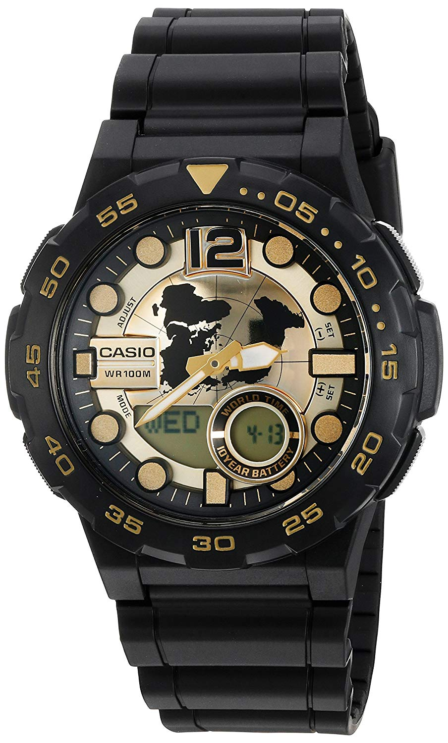 Casio Men's '3D Dial' Quartz Resin Watch, Color:Black (Model: AEQ100BW-9AV)