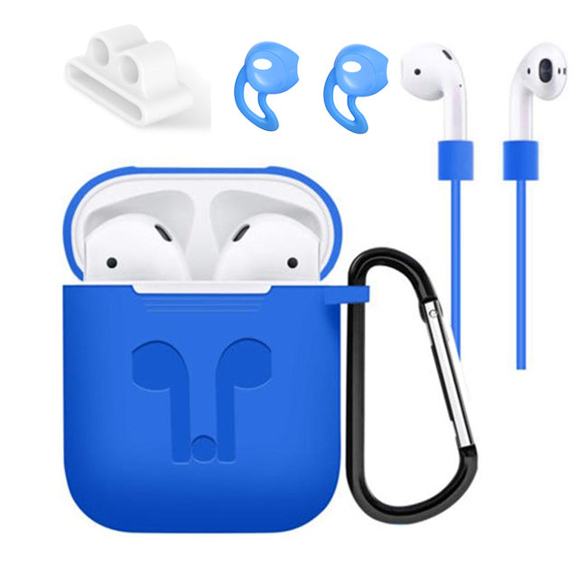 5 Accessories Silicone Case Anti Lost Strap Eartips Carabiner Buckle for Apple AirPods Earphone