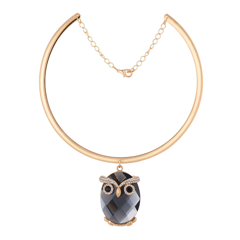 Trendy Punk Owl Crystal Rhinestones Golden Circle Collar Necklace for Women