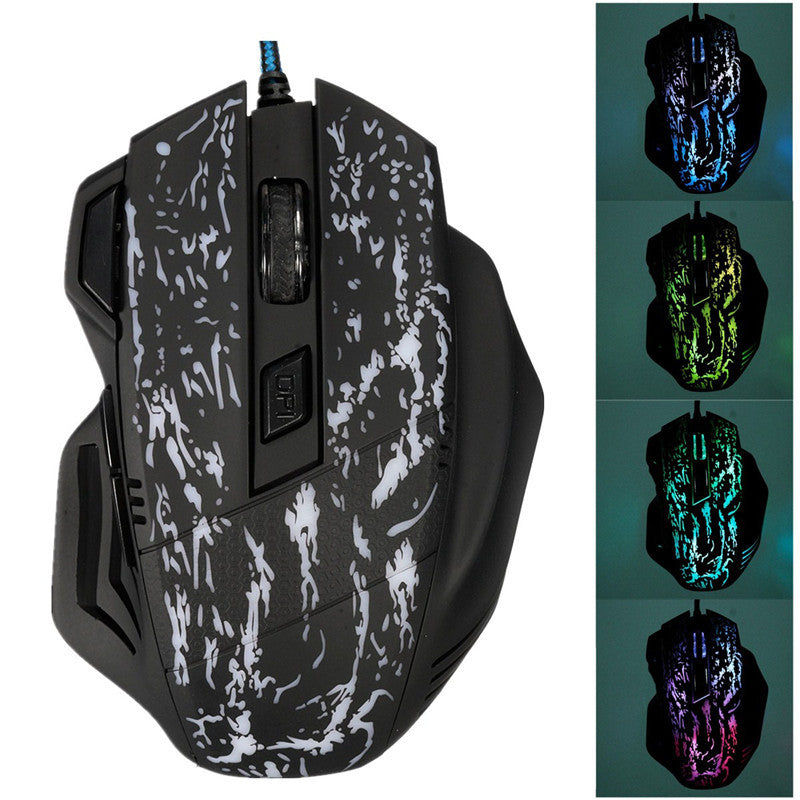 7 LED Colorful Optical 2400DPI 6 Buttons USB Wired Gaming Mouse Mice PC laptop