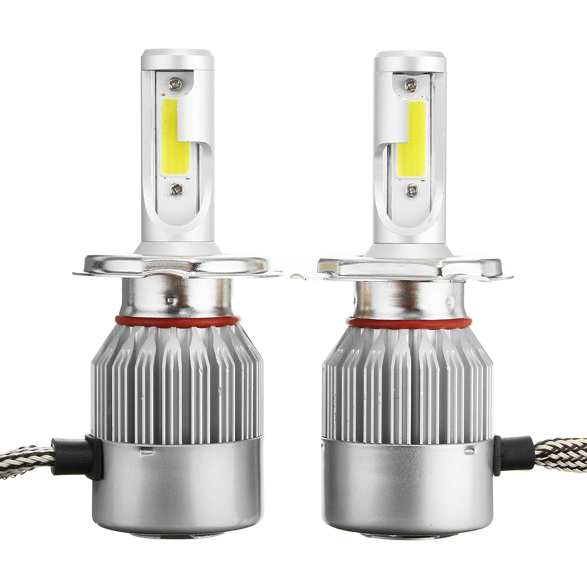 Pair C6 H4 72W 7600LM 6000k-6500K White IP68 COB Car LED Headlights High/Low Beam Lamp Bulb