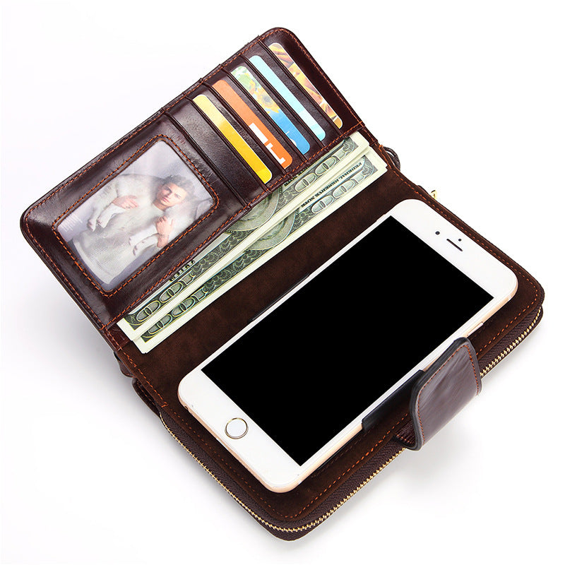 Genuine Leather 6 Inch Retro 8 Card Slot Wallet Casual Wax Oil Phone Bag For Men