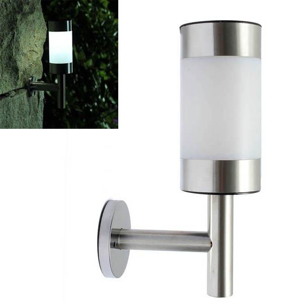 Stainless Steel Garden Solar White LED Lamp Wall-mounted Courtyard Decor Wall light