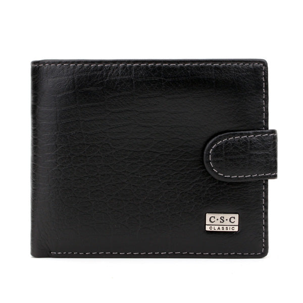 C.S.C Brand Men's Genuine Leather Black Bifold Clutch Wallet Purse Card Package