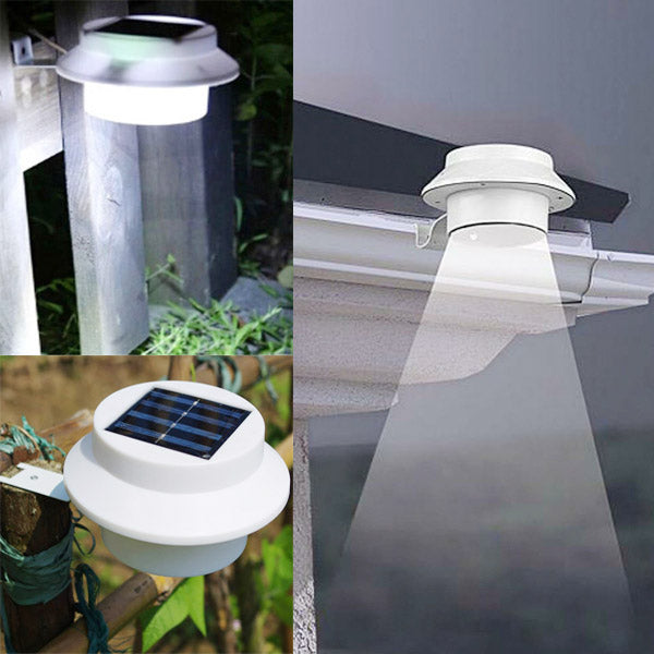 Garden 3 LED Solar Power Fence Gutter Light Super Bright Outdoor Yard Aisle Panel Lamp