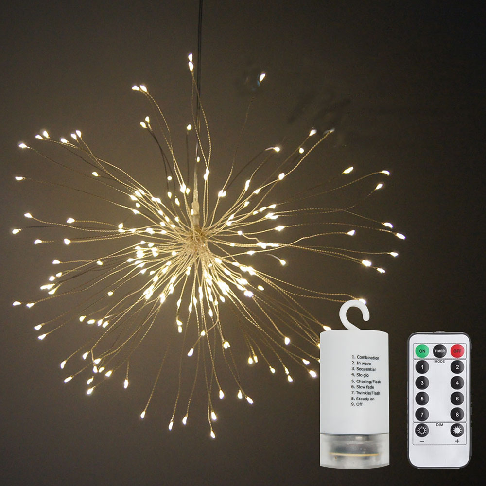 Garden Courtyard Decoration Light 120 LED Battery-powered Christmas Festive Firework Starburst Hanging Lamp 8 Functions with Remote Controller
