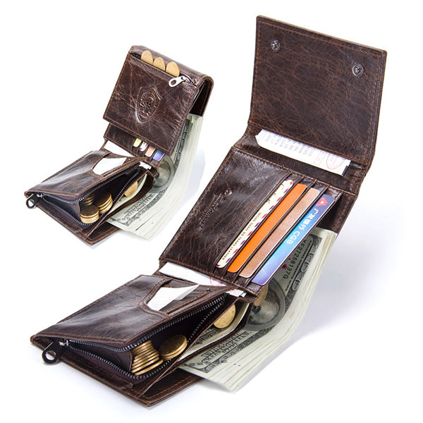Men Genuine Leather Vintage Large Capacity Multi-function 6 Card Slot Wallet